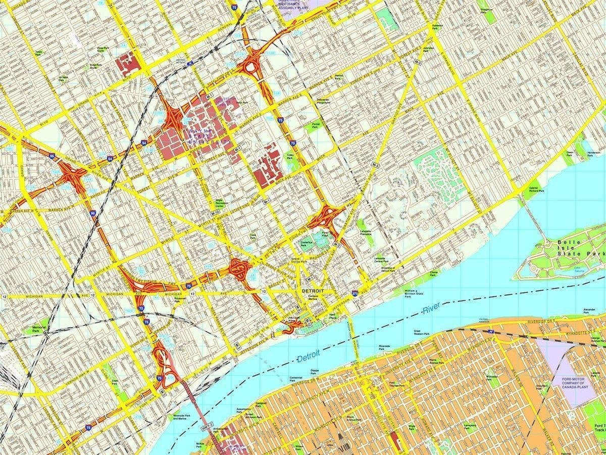 Detroit Map Eps Illustrator Vector City Maps Usa America Eps