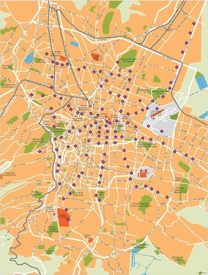 mexico df vector map