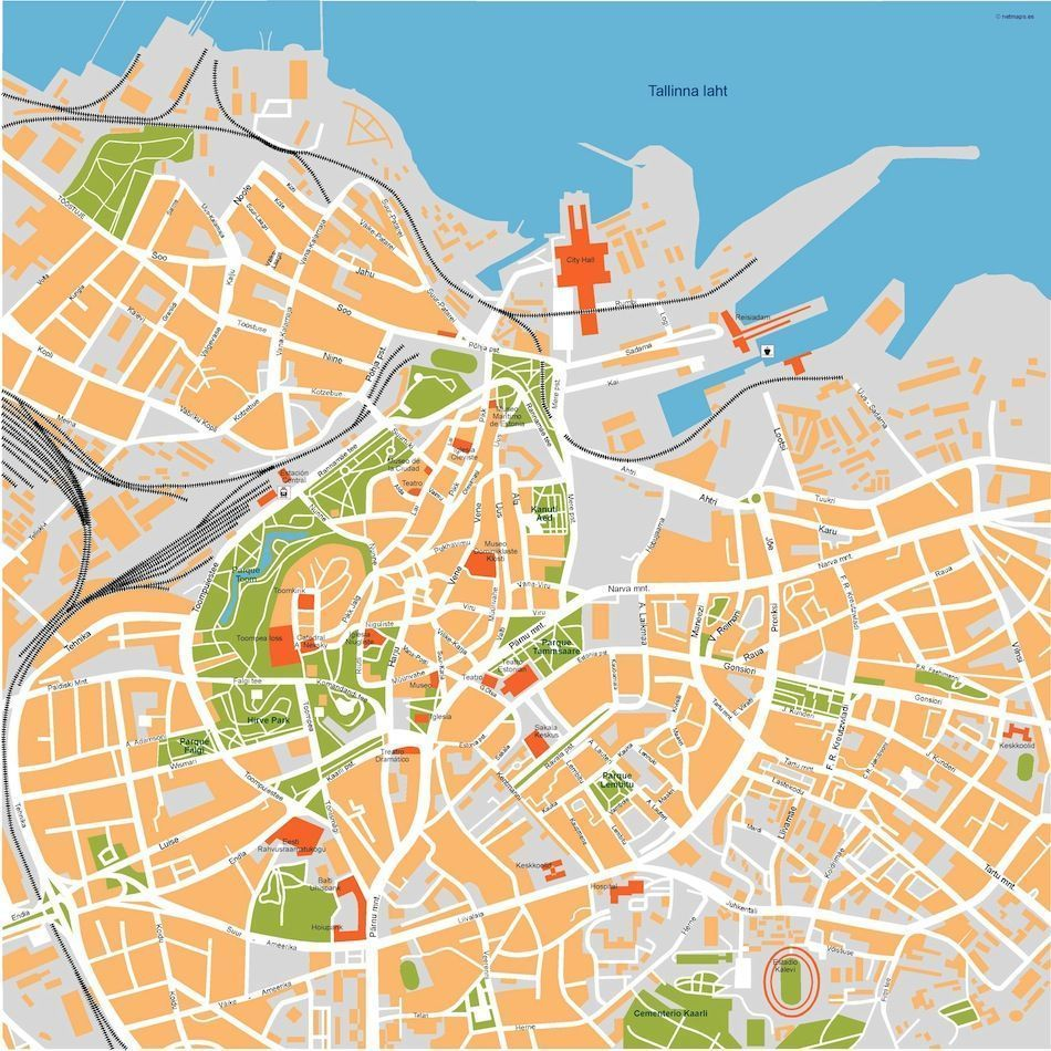 Tallinn Vector Map Eps Illustrator Map Digital Maps Netmaps UK - Tallinn map
