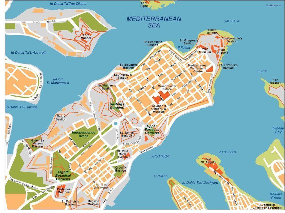 valletta vector map