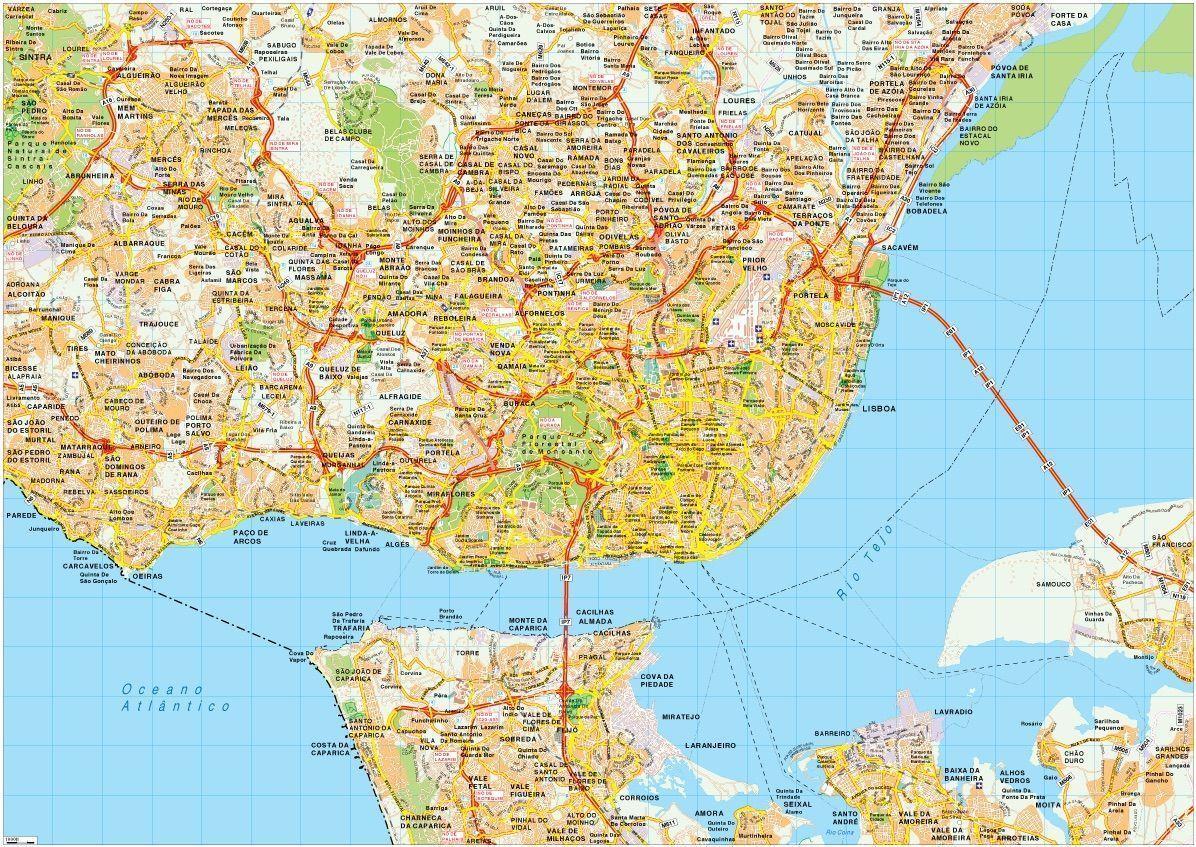 Lisboa Map Vector Eps Illustrator Map Digital Maps Netmaps UK - lisbon map