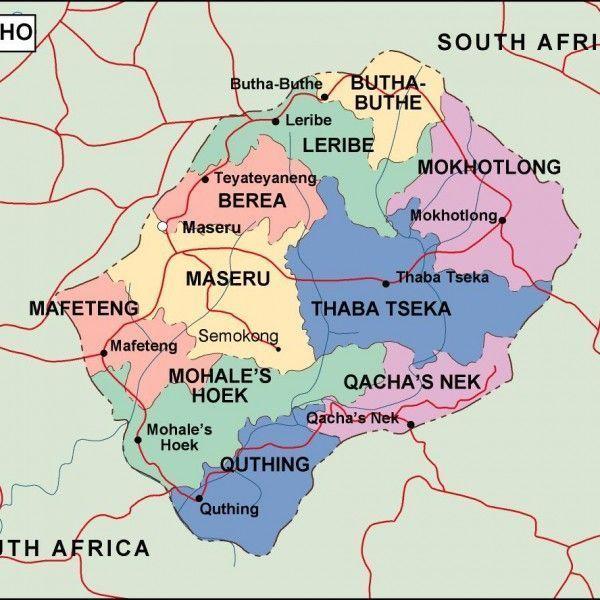 lesotho political map