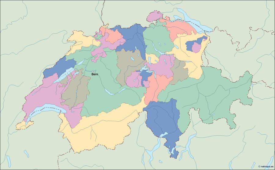 switzerland vector map