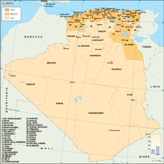 Algeria economic map