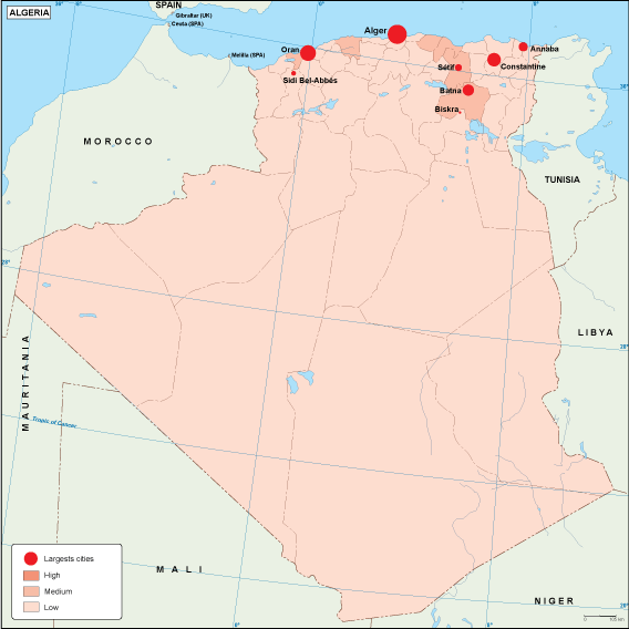 Algeria population map