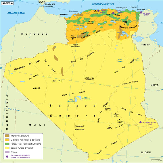 Algeria vegetation map