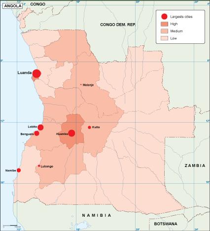 Angola population map