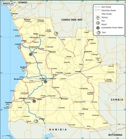 Angola transportation map