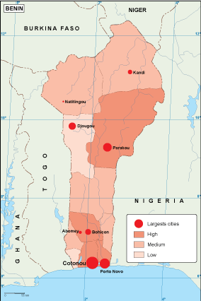 Benin population map