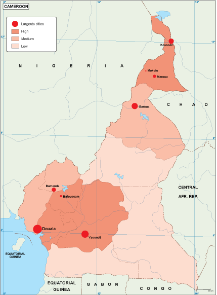 Cameroon population map
