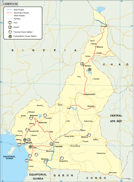 Cameroon transportation map