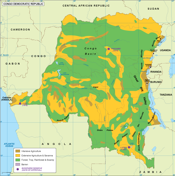 Map Of Africa Vegetation.Congo Dem Rep Vegetation Map