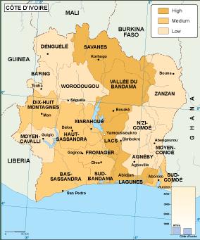 Cote Ivoire economic map