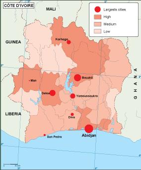 Cote Ivoire population map