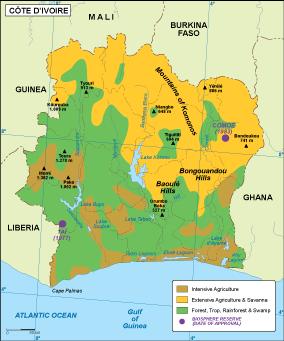 Cote Ivoire vegetation map