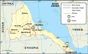 Eritrea transportation map
