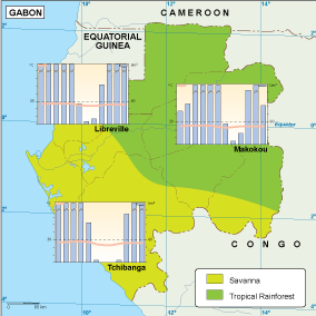 Gabon climate map