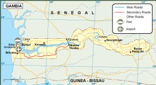 Gambia transportation map