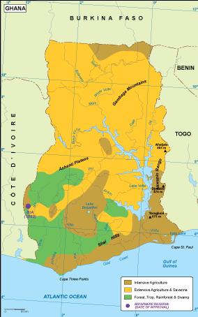 Ghana vegetation map