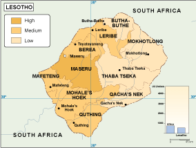 Lesotho economic map