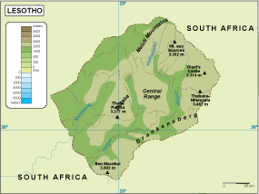 Lesotho physical map