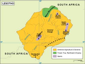 Lesotho vegetation map