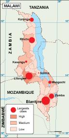 Malawi population map
