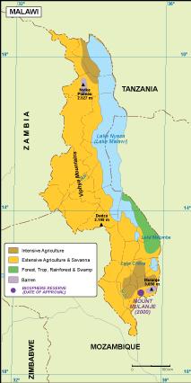 Malawi vegetation map