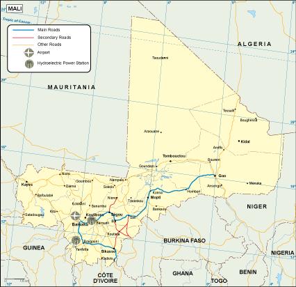 Mali transportation map
