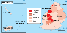 Mauritius population map