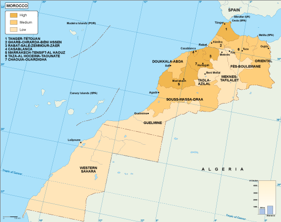 Morocco economic map