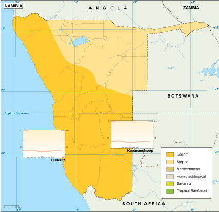 Namibia climate map