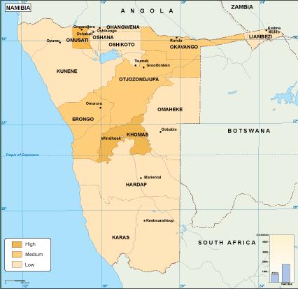 Namibia economic map