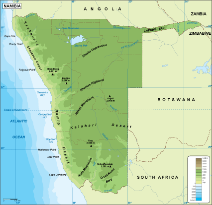 Namibia physical map