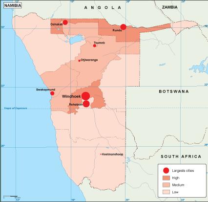 Namibia population map