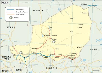 Niger transportation map
