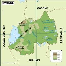 Rwanda physical map