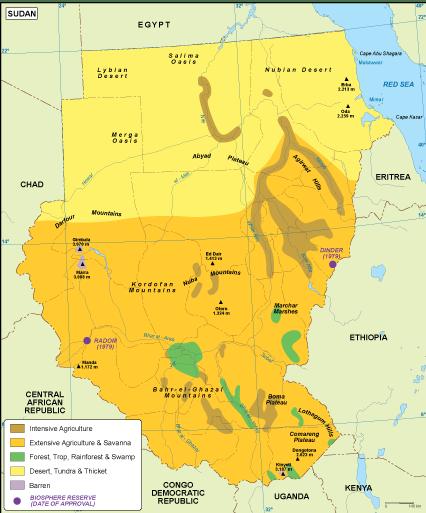 Sudan vegetation map