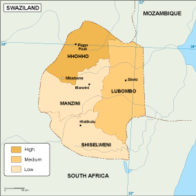 Swaziland economic map