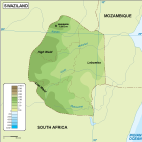 Swaziland physical map