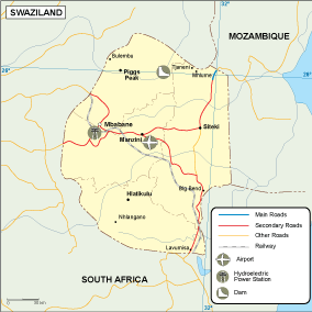 Swaziland transportation map