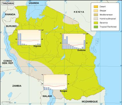 Tanzania climate map