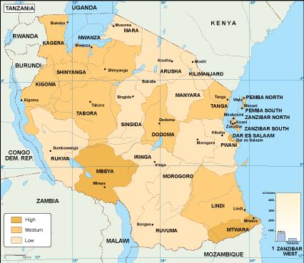 Tanzania economic map
