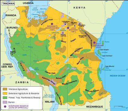 Tanzania vegetation map