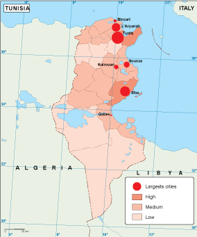 Tunisia population map