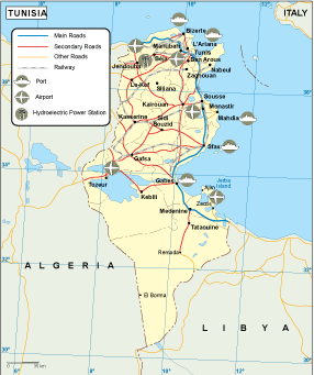 Tunisia transportation map