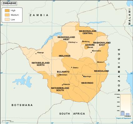 Zimbabwe economic map