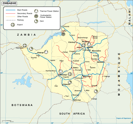 Zimbabwe transportation map