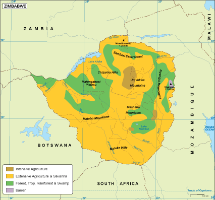 Map Of Africa Vegetation.Zimbabwe Vegetation Map