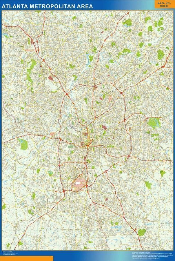Atlanta Vector Map Eps Illustrator Vector City Maps Usa America